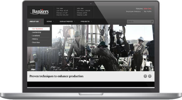 Bankers Petroleum Intranet Screenshot